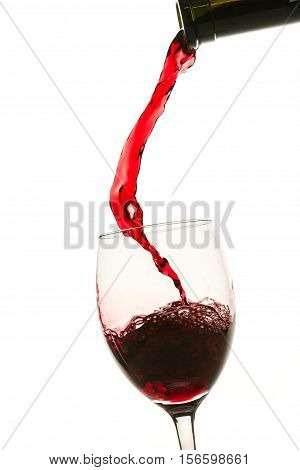 Pouring Red Wine Into Glass From Bottle On White Background
