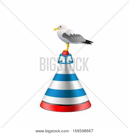 Sea buoy with a seagull on white background. Isolated buoy with blue and red stripes.  Vector EPS10 nautical realistic illustration.