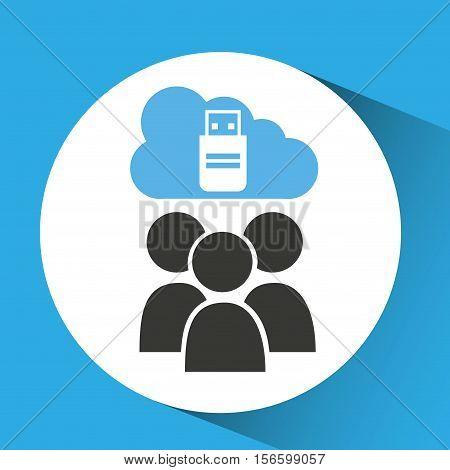 cloud computing service usb backup vector illustration eps 10