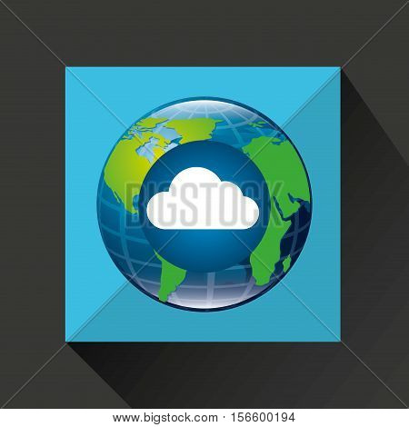 globe world cloud connection service vector illustration eps 10
