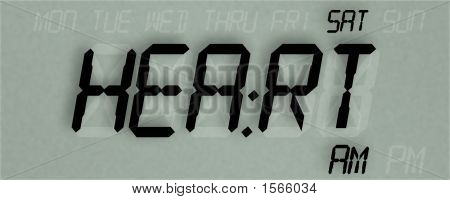 Digital Clock Readout Saying Heart, Illustration, Realist Looking
