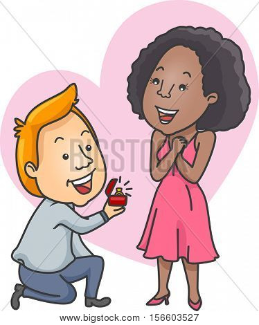 Romantic Illustration of a Caucasian Man Offering an Engagement Ring to His African Girlfriend