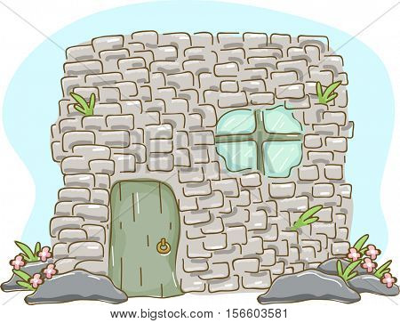 Illustration of a Small but Sturdy House Built with Adobe Bricks with a Mini Garden in Front