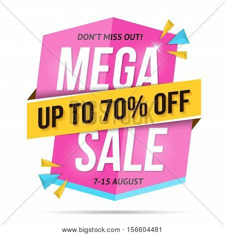 Modern mega sale banner, don't miss out, 70% off, vector eps10 illustration