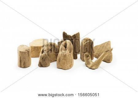 Pieces of driftwood isolated on white.