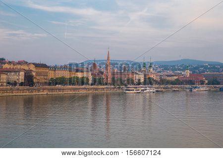 Danube river - panorama. Danube in Budapest Hungary. View of the Danube in Budapest. Embankment of Danube River Budapest