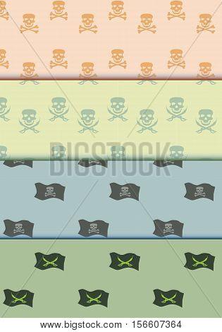 Seamless pattern on pirate theme background .