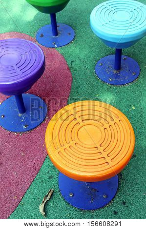 Brightly colored chairs Playground in the park
