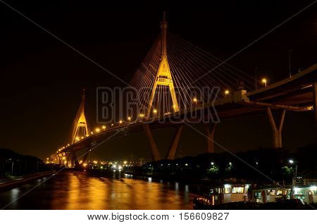 The Bhumibol Bridge also known as the Industrial Ring Road Bridge is part of the 13 km long Industrial Ring Road connecting southern Bangkok with Samut Prakan Province Thailand.