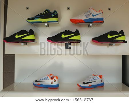 NEW YORK - AUGUST 27, 2016: Nike presents new tennis shoes collection during US Open 2016 at Billie Jean King National Tennis Center in New York