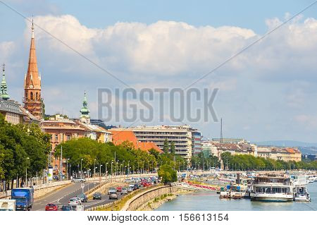 Budapest, Hungary - 24 July 2014: View On City Center Of Budapest In Hungary In Sunny Day. Budapest