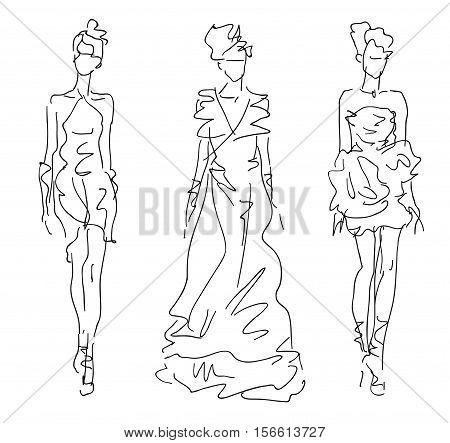 Sketch Fashion Stylized Women  - women in dresses