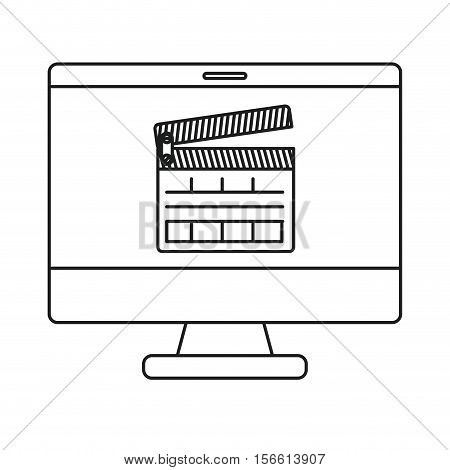Clapboard and computer icon. Movie film video cinema and entertainment theme. Isolated design. Vector illustration