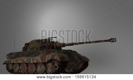 tank with camouflage in isolated space 3d render