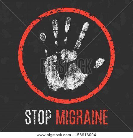 Conceptual vector illustration. Human diseases. Stop migraine.