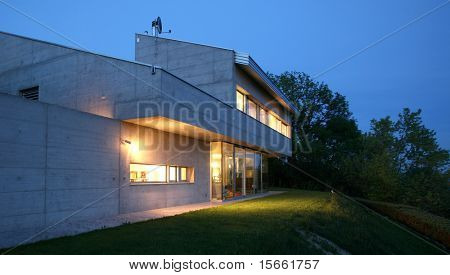 modern house in the night