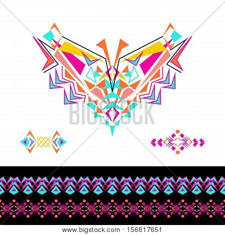 Vector neckline patterns and borders design for fashion. Ethnic tribal neck print. Chest embellishment in boho style. Aztec ornaments