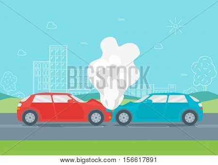 Cartoon Car Crash or Accident on the Urban Road. Flat Design Style Vector illustration