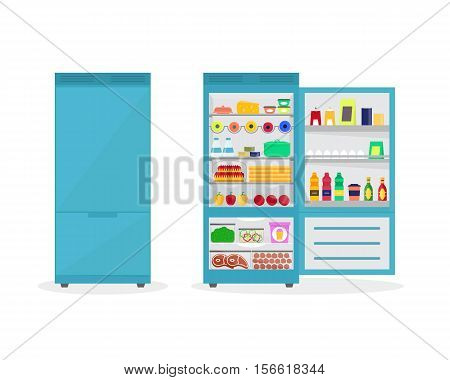 Cartoon Fridge Open and Closed Full Of Food. Refrigerator or Fridge for Home Flat Design Style Vector illustration