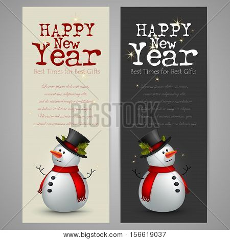 greeting card Happy New Year with snowman