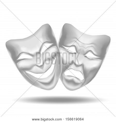 Template Blank White Comedy and Tragedy Mask Theatre. Realistic Empty Mock Up. Vector illustration