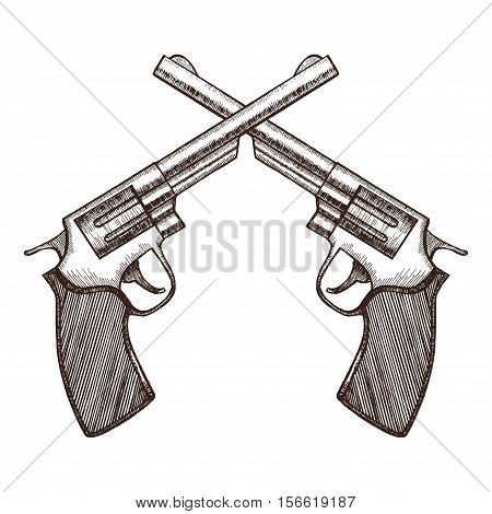 Crossed Pistols Hand Draw Sketch Revolver Gun Duel. Vector illustration