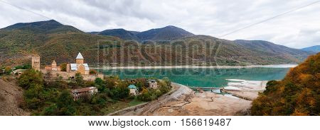 Panoramic view of Ananuri castle fortress complex on the Aragvi River in Georgia. Georgian landmarks. Reservoir Zhinvali
