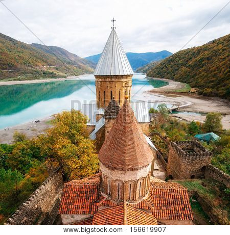 Ananuri castle fortress complex on the Aragvi River in Georgia. The view from the tower. Georgian landmarks. Reservoir Zhinvali