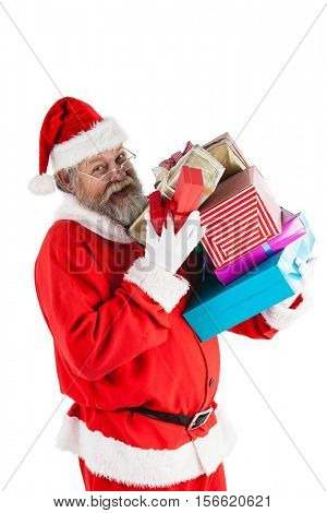 Portrait of happy santa claus holding a presents against white background