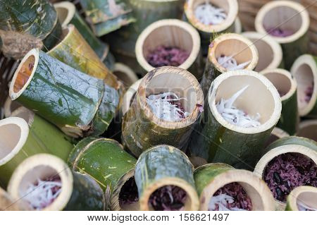 Thai food Glutinous rice roasted in bamboo in the name of Thai called khoalam