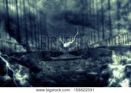 Lightning Over Railroad