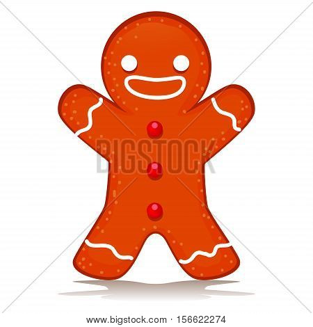 Vector Illustration of Happy Ginger Bread Standing