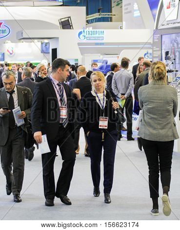 St. Petersburg, Russia - 5 October, Business people on the Gas Forum, 5 October, 2016. Petersburg Gas Forum which takes place in Expoforum.