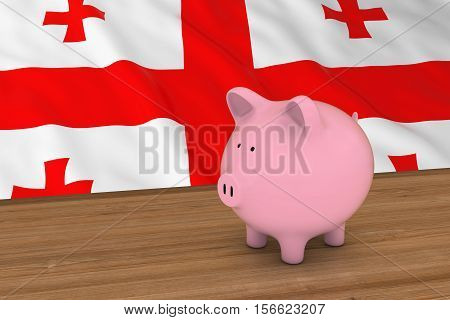 Georgia Finance Concept - Piggybank In Front Of Georgian Flag 3D Illustration