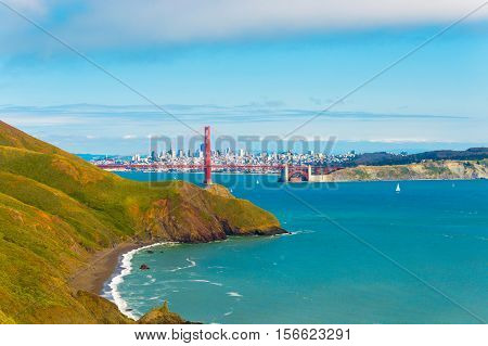 San Francisco Golden Gate Bridge Headlands Far
