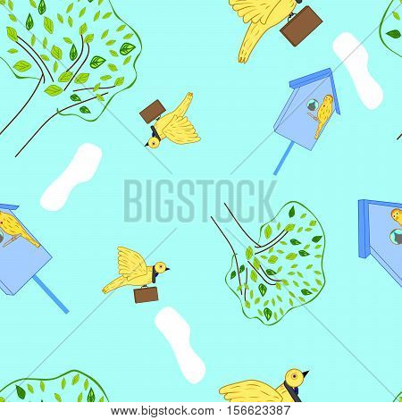 vector illustration business birdies, seamless pattern on a colored background