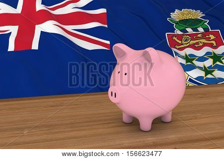 Cayman Islands Finance Concept - Piggybank In Front Of Caymanian Flag 3D Illustration