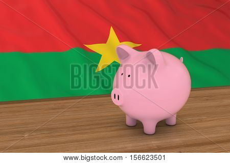 Burkina Faso Finance Concept - Piggybank In Front Of Burkinabe Flag 3D Illustration