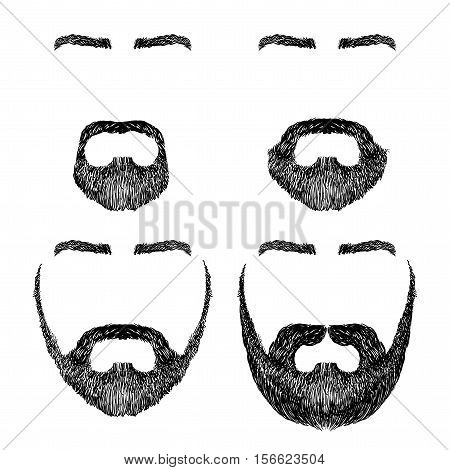 set of various shapes beard, mustache, eyebrows, freehand drawing