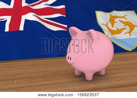 Anguilla Finance Concept - Piggybank In Front Of Anguillan Flag 3D Illustration