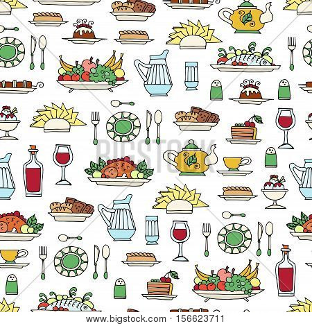 Vector seamless pattern with hand drawn colored symbols of breakfast lunch or dinner. Pattern on the theme of food. Background for use in design, packing, web site, fabric