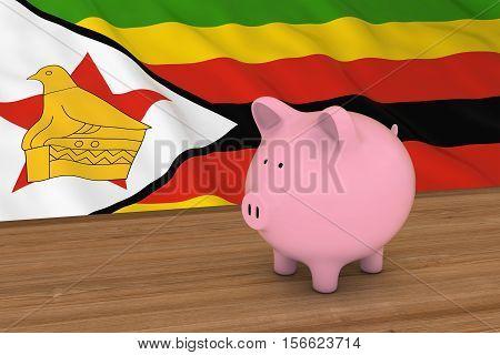 Zimbabwe Finance Concept - Piggybank In Front Of Zimbabwean Flag 3D Illustration