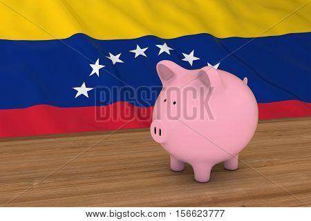Venezuela Finance Concept - Piggybank In Front Of Venezuelan Flag 3D Illustration