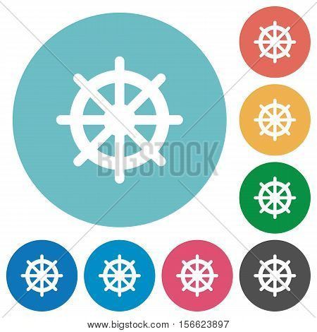 Steering wheel white flat icons on color rounded square backgrounds
