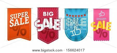 Different color shopping tags vector clipart isolated on white. Sale and discount