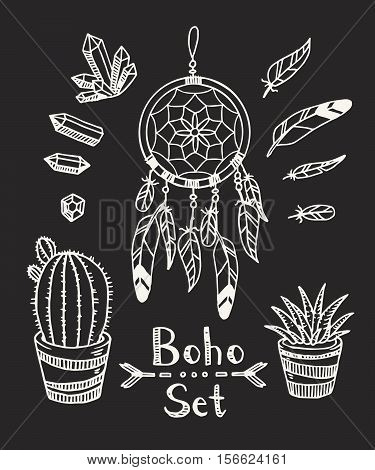 Boho Tribal Vector Set With Plants, Dream Catcher, Feathers And Gem Stones. Gypsy Spirit. In A Doodl