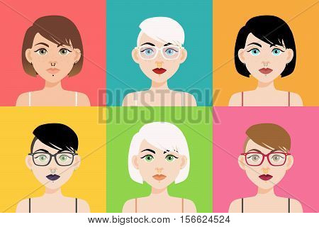 Vector Illustration Set Of Different Boho Piercing Girls. Trendy Hair And Jewelry, Make Up, Septum,