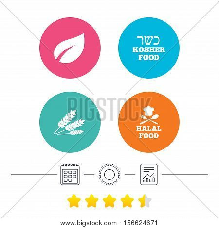 Natural food icons. Halal and Kosher signs. Gluten free. Chief hat with fork and spoon symbol. Calendar, cogwheel and report linear icons. Star vote ranking. Vector
