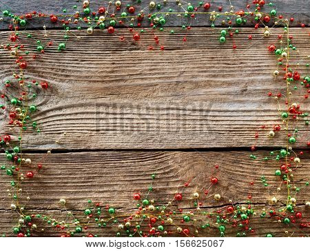 Christmas decor on the wooden background.