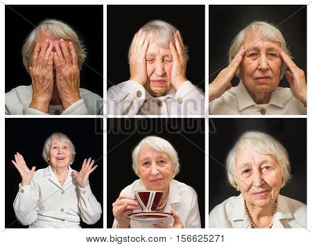 The Senior Woman Enjoying Cup Of Tea on black. Collage of different emotions